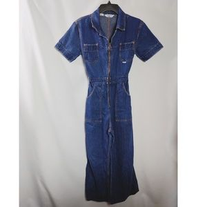 Vintage Denim Jean Jumpsuit Wide Leg Zip Front SzS